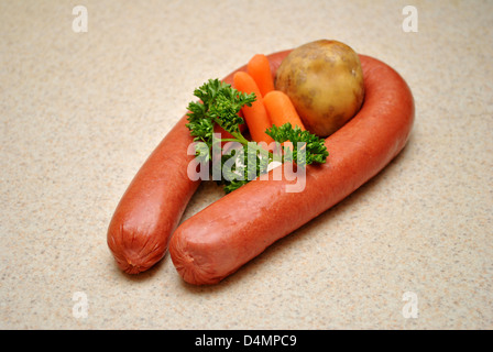 Raw Vegetables with Whole Kielbasa