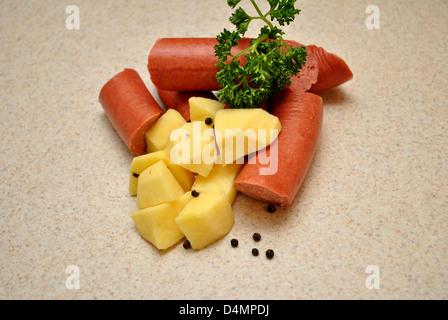 Parsley on Raw Kielbasa and Potatoes