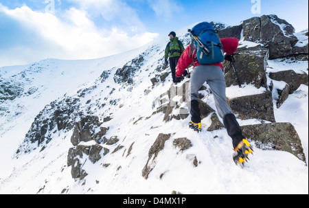 Two hikers climbing Swirral Edge on route to the summit of Helvellyn in the Lake District. - Stock Photo