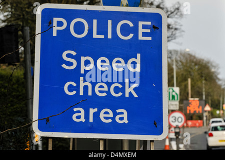 Police speed check area sign at major roadworks. - Stock Photo