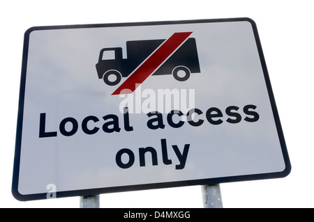 Sign warning route is for Local Access only, and for lorries not to use it as a through road. - Stock Photo