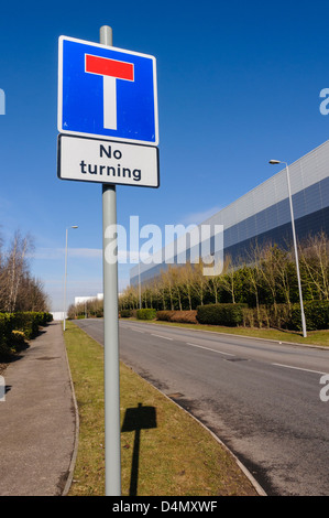 No Through Road sign, with sign warning that turning is not permitted. - Stock Photo