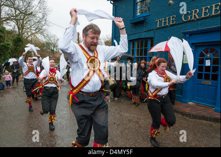 Thriplow Daffodil Weekend, Cambridgeshire, UK. Sat March 16th 2013. Morris Dancers in traditional folk costume provide - Stock Photo