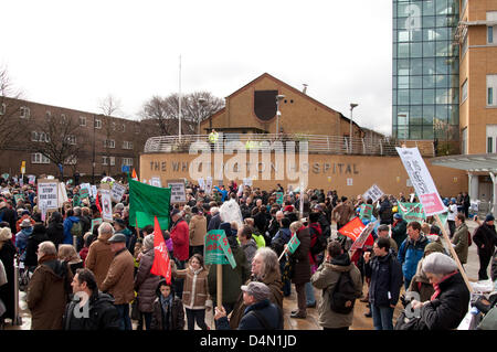 London UK, 16th March 2013. Thousands of people campaigning to stop the cuts at the Whittington Hospital arrive - Stock Photo