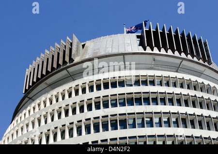 Beehive building - Parliament of New Zealand in Wellington city. - Stock Photo