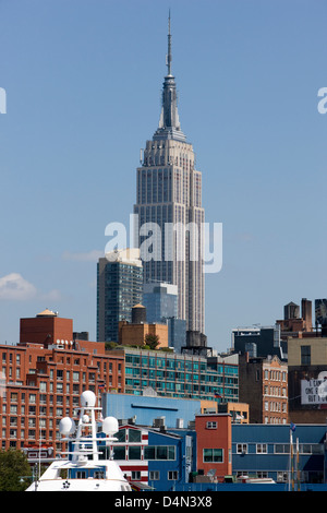 The Empire State Building viewed from the West Side in New York - Stock Photo