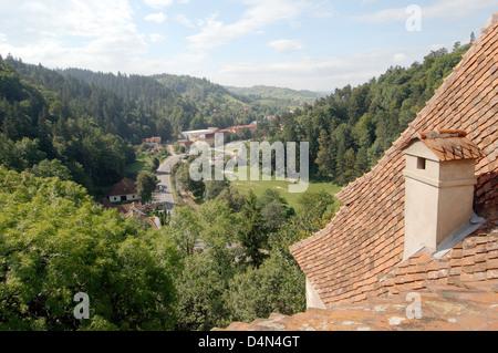 View from the castle Bran Castle (Castelul Bran) - Count Dracula's Castle, Braşov, Wallachia, Romania - Stock Photo