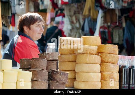 Cottage cheese on the counter, Brasov, Transylvania, Romania, Europe - Stock Photo