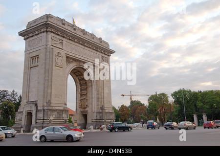 Triumphal arch, Bucharest, Romania, Europe - Stock Photo