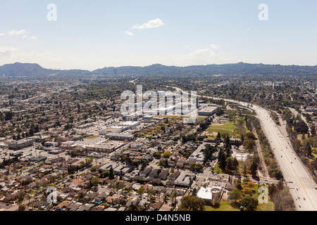 North Hollywood freeway aerial in Los Angeles, California - Stock Photo