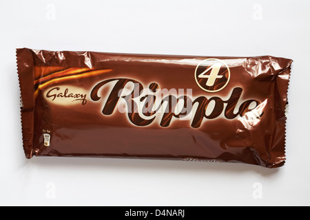 packet of 4 Galaxy Ripple chocolate bars isolated on white background - Stock Photo