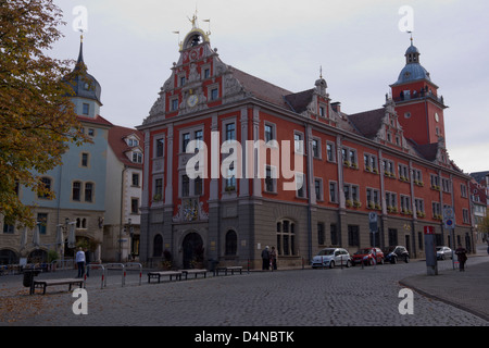 View of Gotha with the historic town hall, Gotha, Thuringia, Germany, Europe - Stock Photo