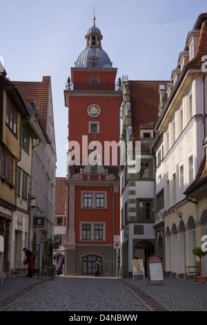 View of Gotha with the historic town hall tower, Gotha, Thuringia, Germany, Europe - Stock Photo