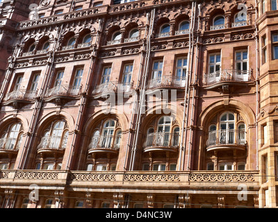 Detail of Midland Hotel showing the balconies in Manchester UK - Stock Photo