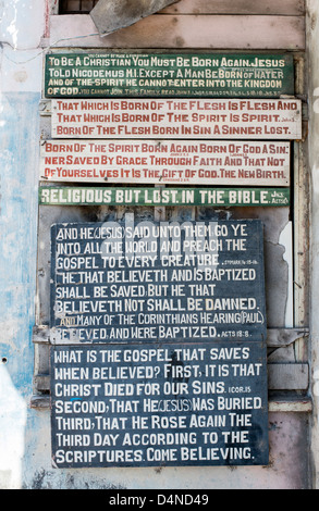 religious Christian sign on a wall in Speightstown,  Barbados, Caribbean - Stock Photo