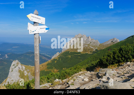 Signpost and path to Giewont and Kopa Kondracka in the Tatra National Park, Poland - Stock Photo