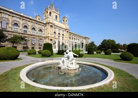 Vienna, Austria - fountain in front of Natural History Museum. The Old Town is a UNESCO World Heritage Site. - Stock Photo