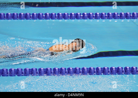 Fuying Jiang of China in Womens 50m Butterfly - S6 at the aquatics centre at the London 2012 Paralympic games. - Stock Photo