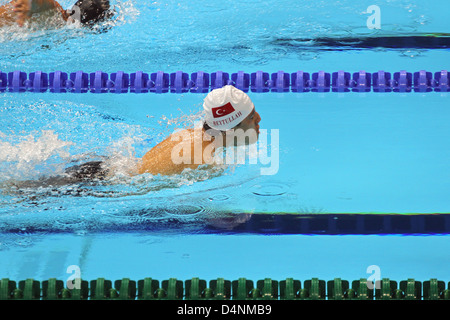 Beytullah Eroglu of Turkey in mens 50m Butterfly - S5 at the aquatics centre at the London 2012 Paralympic games. - Stock Photo