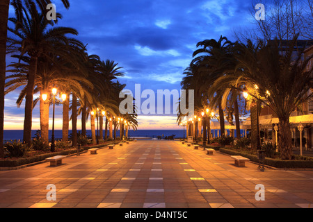 The Balcon de Europa in Nerja, Spain at dawn - Stock Photo