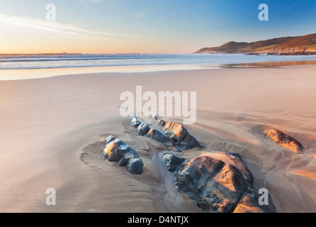 Beautiful Combesgate Beach near Woolacombe Devon England UK - Stock Photo