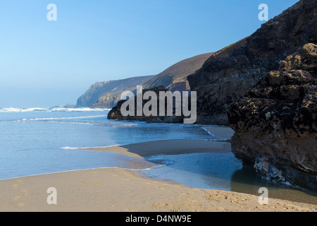 The beach at Chapel Porth on the North Coast of Cornwall England UK - Stock Photo