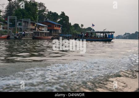 Ayutthaya, Thailand, a ferry on the Chao Phraya River - Stock Photo