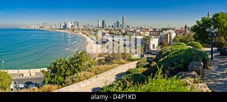 Costline view of Tel-Aviv, viewed from Jaffa-medieval part of the city Jaffa was port in ancinet times - Stock Photo