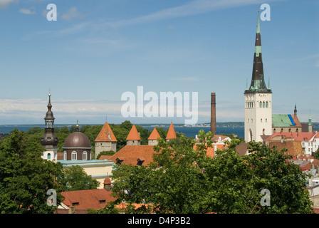 St Olaf's Church and City Wall, Tallinn, Estonia - Stock Photo