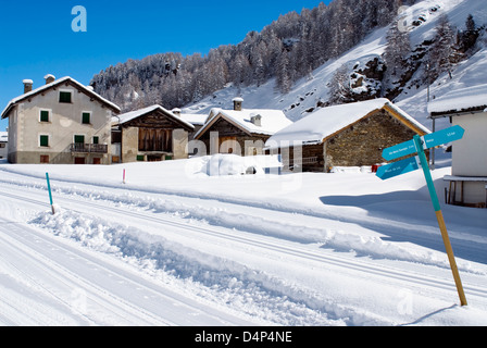 Cross-country skiing track at the Village Isola at Lake Sils, also called Goat Village in Winter, Switzerland - Stock Photo