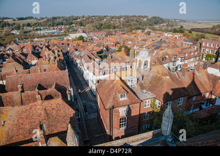 View of Rye rooftops from the top of Church of St. Mary, Rye, East Sussex - Stock Photo