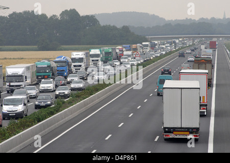 Hamm, Germany, jam on the A2 - Stock Photo