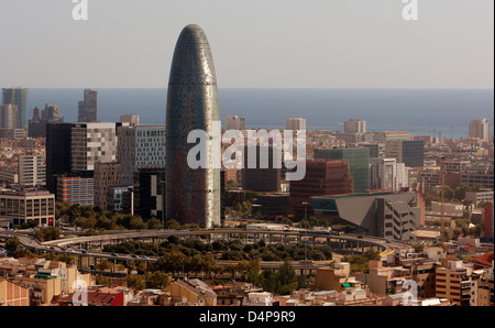 Barcelona, Spain, the Catalan Silicon Valley with the Agbar Tower - Stock Photo