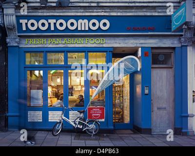 Tootoomoo, London, United Kingdom. Architect: Jennings Design Studio, 2012. Exterior elevation of restaurant shopfront - Stock Photo