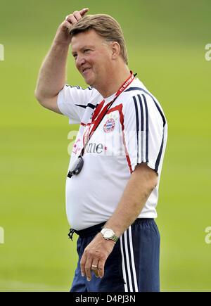 Louis van Gaal, new head coach of German Bundesliga club FC Bayern Munich, pictured during the kick-off training - Stock Photo