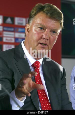Louis van Gaal, new head coach of German Bundesliga club FC Bayern Munich, speaks at a press conference at the club - Stock Photo