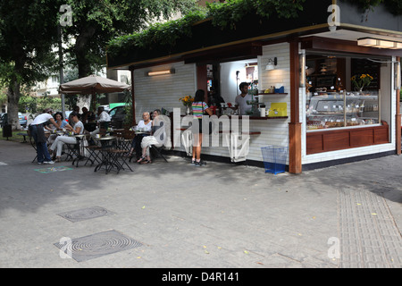 Israel, Tel Aviv, an outdoor coffee bar in Ben-Zion Boulevard - Stock Photo
