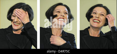 The combo picture shows Nobel Prize laureate Hertha Mueller on the podium during a press conference in Berlin, Germany, - Stock Photo