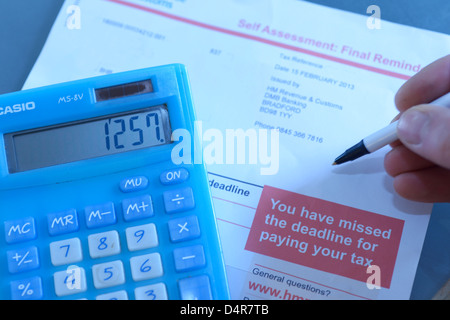 HM revenue & customs, HMRC self assessment final demand reminder letter. Tax reference and name have been removed. - Stock Photo