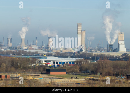 View of Billingham Chemical Complex from hill near river Tees. Billingham near Middlesbrough, Cleveland, England, - Stock Photo