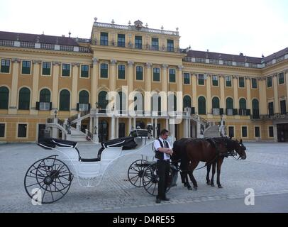 A coachman waits for customers in front of Schoenbrunn Palace in Vienna, Austria, 07 August 2009. The whole castle - Stock Photo