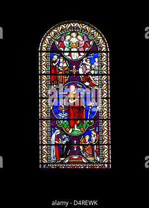 Stained glass window in Southwell Minster, Southwell, Nottinghamshire, East Midlands, UK - Stock Photo