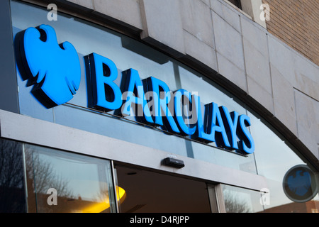A general view of the Barclays bank logo at the Above Bar Street branch in Southampton - Stock Photo