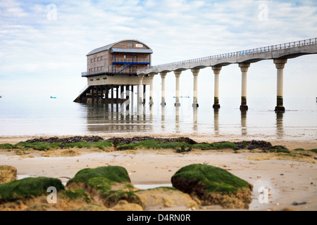 A general view of the RNLI Lifeboat Station at Bembridge on the Isle of Wight taken from Lane End Beach - Stock Photo