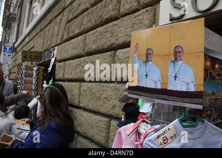Vatican City. 17th March, 2013. The first Angelus Sunday Blessing by Pope Francis in Saint Peter's Square, Vatican - Stock Photo