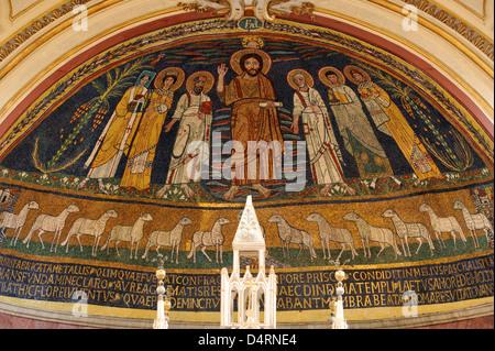 italy, rome, trastevere, basilica of santa cecilia in trastevere, apse, medieval mosaic - Stock Photo