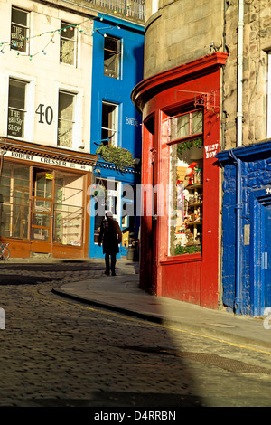 artisans shops on west bow or victoria street in vertical format - Stock Photo