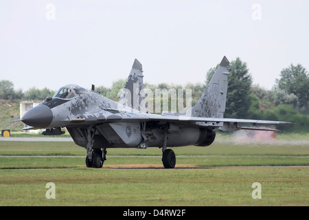 Slovak Air Force MiG-29AS aircraft in digital camouflage, Kecskemet, Hungary. - Stock Photo
