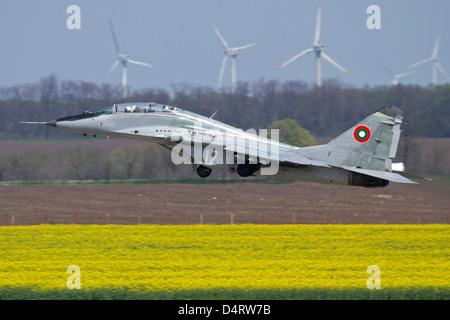 A Bulgarian Air Force MiG-29UB aircraft takes off from Balchik Air Base, Bulgaria. - Stock Photo