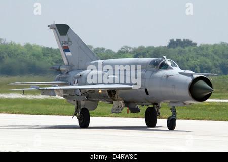 A Serbian Air Force MiG-21bis at Batajnica Air Base, Serbia. - Stock Photo